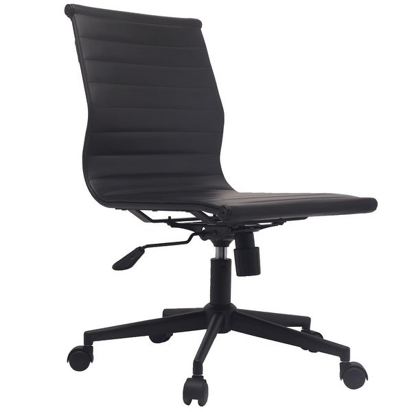 2xhome Black Swivel Adjustable Height PU Leather Office Chair Mid-Back Armless No Arms Side Ribbed Task Work on Black Base
