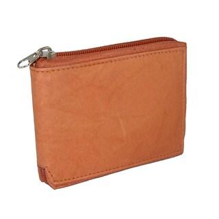 CTM® Men's Leather Zip Around Wallet - One size (Option: Tan)