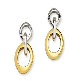 Chisel Stainless Steel IPG 24k Plating Plated Polished Oval Post Dangle Earrings