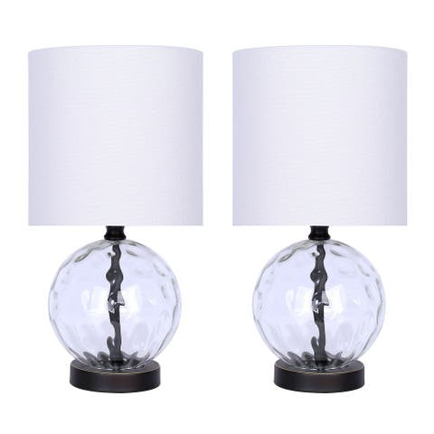 """14.5"""" Glass Table Lamp w/ Orb-Shaped Body, Metal Accents, and Linen Shade (Set of 2)"""