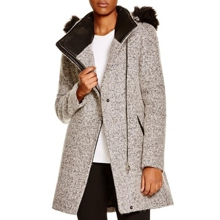Calvin Klein Womens Basic Coat Wool Blend Asymmetric