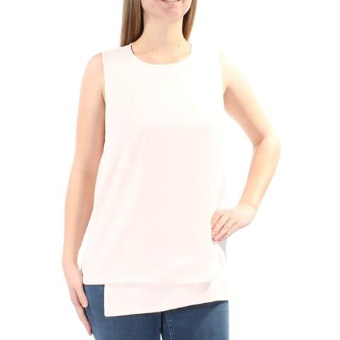 ALFANI Womens Pink Sleeveless Jewel Neck Tiered Top Size: 8