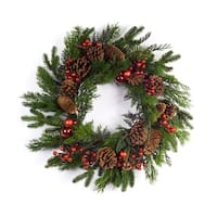 Set of 2 Green and Red Pine/Berry Christmas Wreath 24""