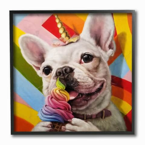 Stupell Industries Rainbow French Bulldog Unicorn Ice Cream Colorful Framed Wall Art