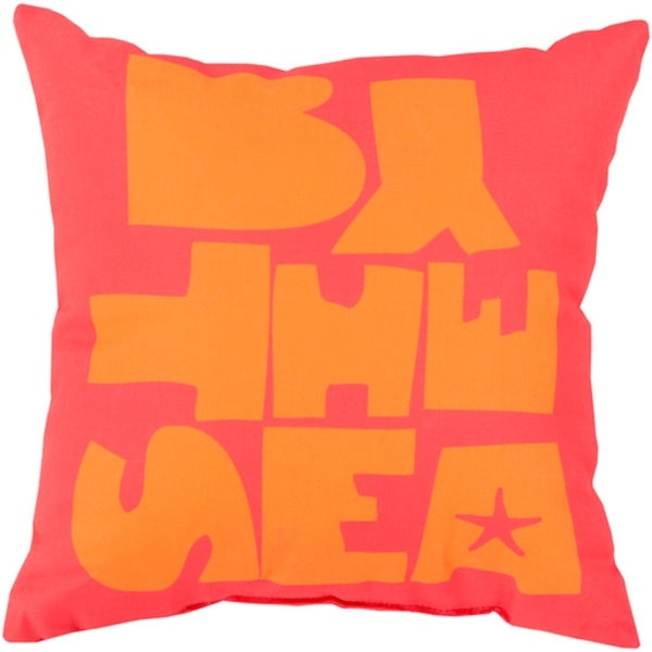 """26"""" """"BY THE SEA"""" Salmon Pink and Apricot Orange Throw Pillow Shell"""