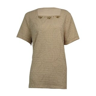Alfred Dunner Women's Beaded Square-Neck Textured Top - Champagne