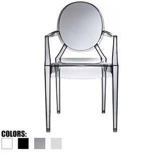 2xhome Crystal Transparent Stackable Plastic Armchair Polycarbonate With Back Arms Accent Dining Designer Modern Work Task Desk