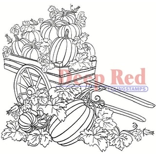 Deep Red Stamps Pumpkin Harvest Rubber Cling Stamp - 3.2 x 3