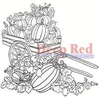 Deep Red Stamps Pumpkin Harvest Rubber Cling Stamp - 3.2 x 3