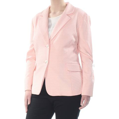 LE SUIT Womens Pink Two Button Printed Blazer Wear To Work Jacket Plus Size: 20W