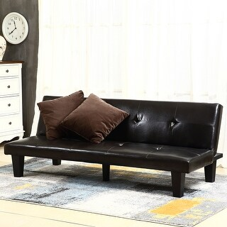 belleze convertible sofa faux leather futon bed sleeper couch w  2 pillow brown brown futons for less   overstock    rh   overstock