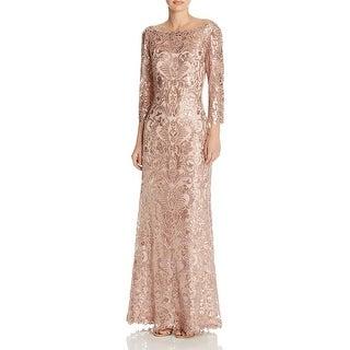 Tadashi Shoji Womens Evening Dress Mesh Sequined
