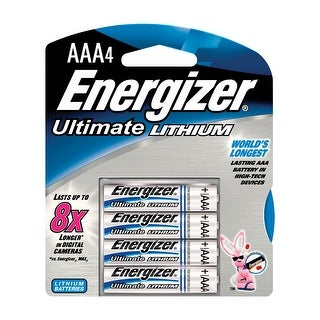 Energizer e2 Lithium AAA Battery, 1250 mAh, 1.5 V, Pack of 4