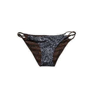 Volcom Juniors Brown Black Henna Spirit Reversible Strappy Bikini Bottom L