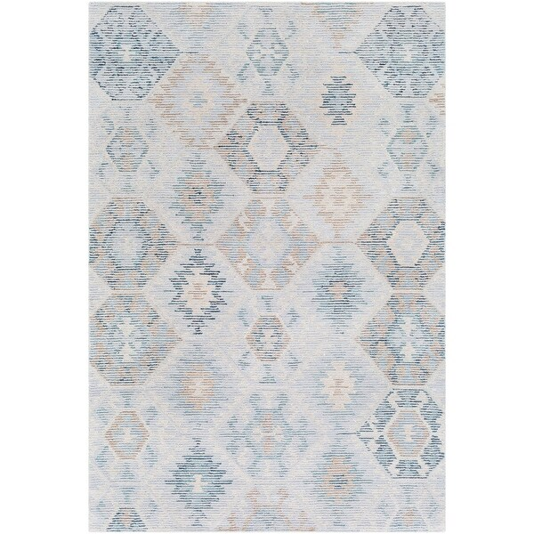 5 X 7 Contemporary Style Pale Blue And Teal Green Rectangular Area Throw Rug N A