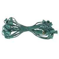 "25' Commercial C7 Christmas Light Socket Set - 12"" Spacing 18 Gauge Green Wire"