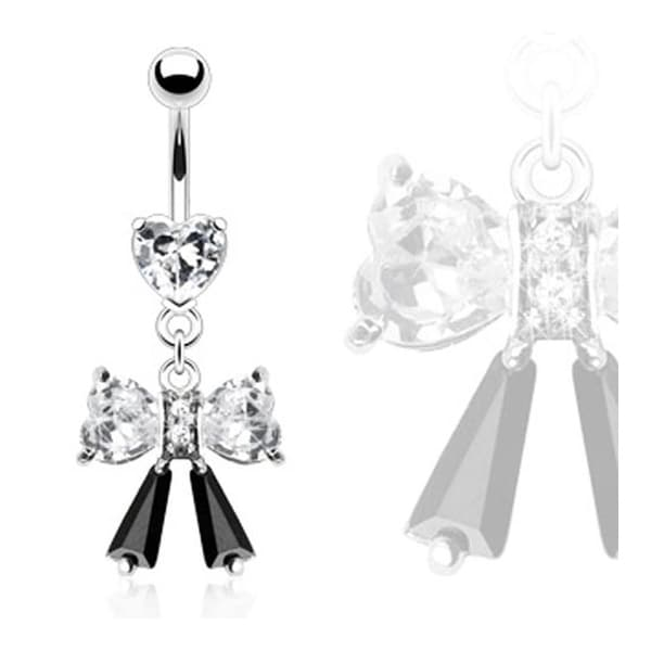 316L Heart Prong Navel Belly Button Ring with Heart Gem Bow and Black Ribbon Dangle (Sold Ind.)