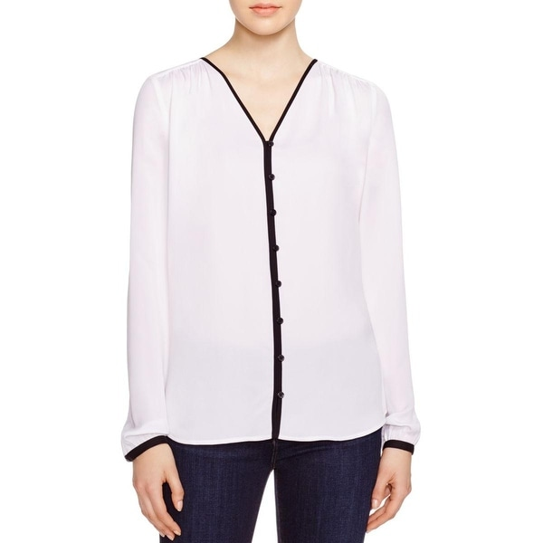 MICHAEL Michael Kors Womens Button-Down Top Silk V-Neck