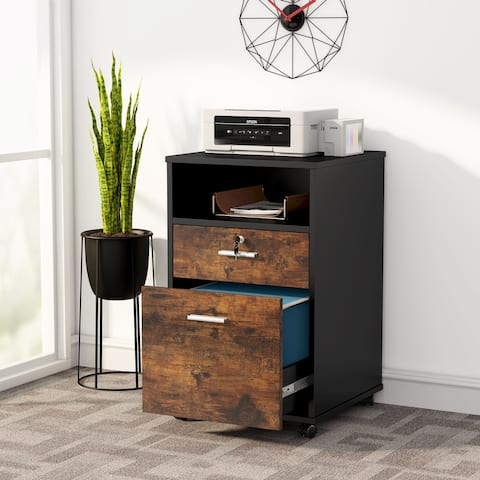 2 Drawer Mobile File Cabinet with Lock, Filing Cabinet for Letter Size, Printer Stand
