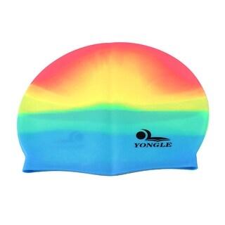 Unique Bargains Elastic Silicone Swimming Cap Swim Ear Hair Protective Hat For Adult Unisex