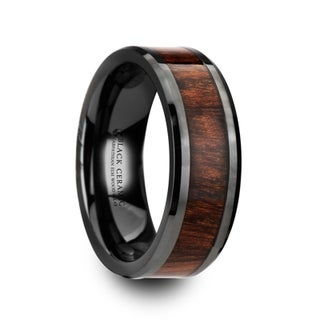 THRACIAN Carpathian Wood Inlaid Black Ceramic Ring with Bevels 8mm (More options available)