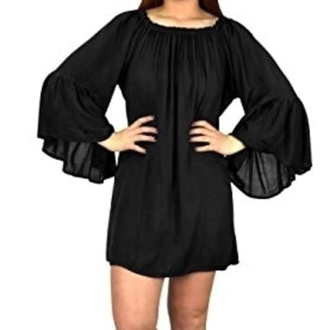 Peach Couture Shoulder Flutter Sleeve Beach Cover Ups