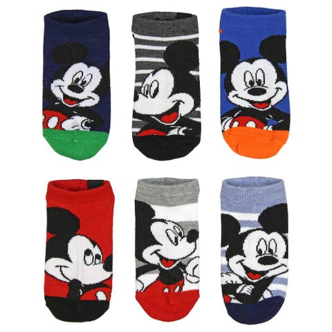 Disney Mickey Mouse Little Boys' Ankle 6 Pairs Classic Children's No Show Socks 6-Pack