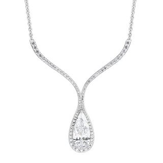 Drop Necklace with White Swarovski Zirconia in Sterling Silver