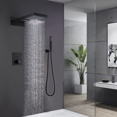 1-Spray Hand Shower and Shower heads from Wall Combo Kit with Slide Bar in Matte Black (Valve Included)