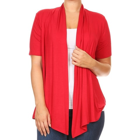 Women Plus Size Short Sleeve Jacket Casual Cover Up Red