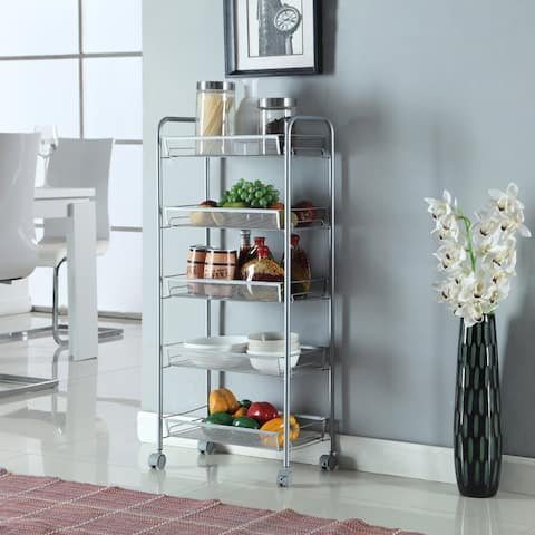 3/5 Layers Honeycomb Mesh Style Removable Storage Cart Silver