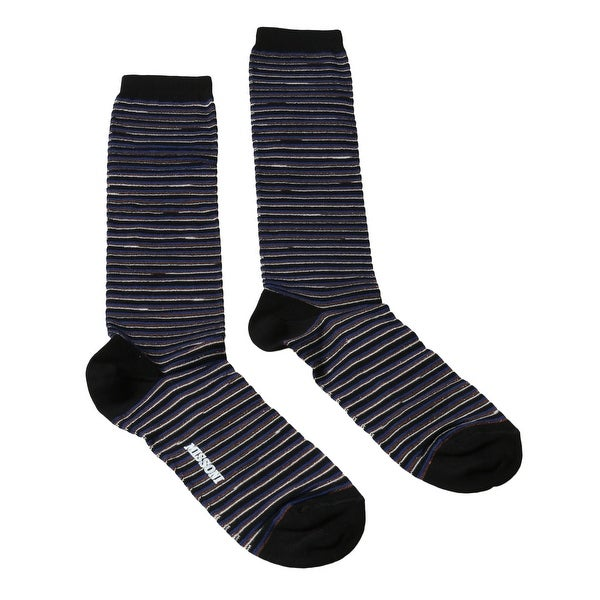 Missoni GM00CMD4589 0003 Striped Blue/Black Boot Socks - M