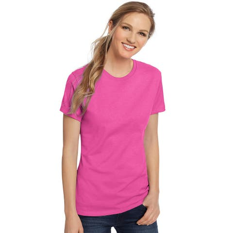 Hanes Women's Nano-T® T-shirt - Size - L - Color - Wow Pink