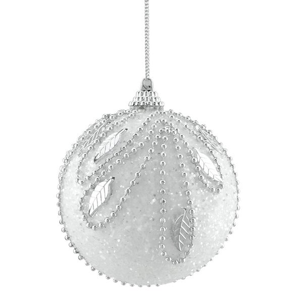 3ct Elegant White and Silver Beaded Shatterproof Christmas Ball Ornaments 3""