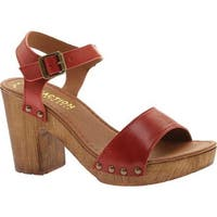 Kenneth Cole Reaction Women's Log Set Clog Sandal Poppy Red Leather