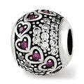 Sterling Silver Reflections CZ & Red Corundum Hearts Bead (4.5mm Diameter Hole) - Thumbnail 0