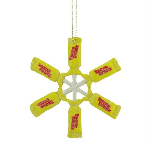 "4"" Candy Lane Tootsie Roll Sugar Daddy Lollipop Snowflake Christmas Ornament - YELLOW"