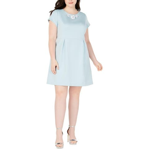 Betsey Johnson Womens Plus Cocktail Dress Embellished Pleated - Ice Ice Baby