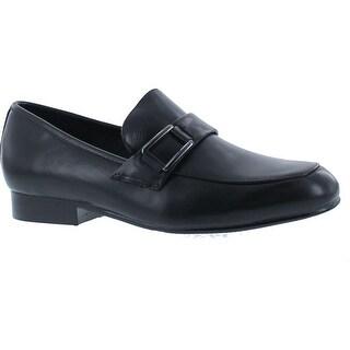 Venettini Boys 55-Ace19 Designer Buckle Slip On Loafers Shoes - Black Leather