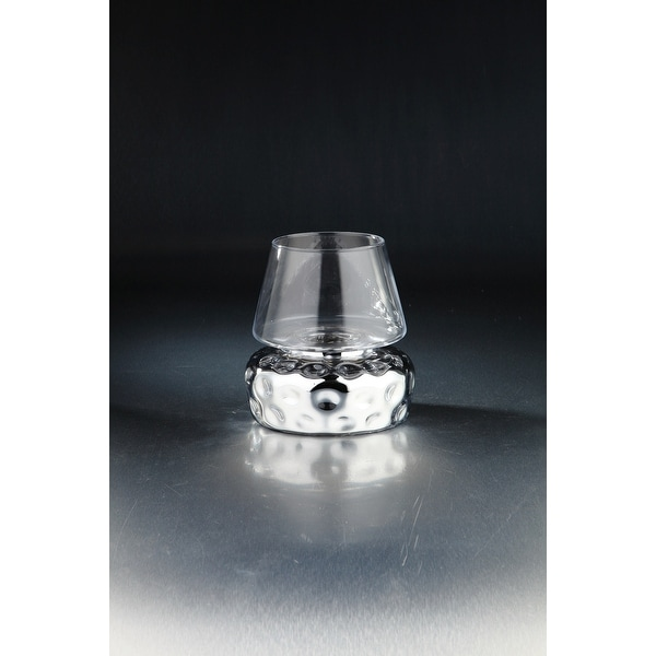 """8"""" Clear and Silver Hand Blown Glass Candle Holder - N/A"""