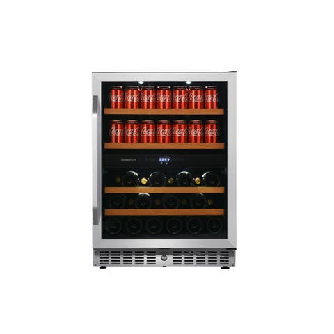 "EdgeStar CWB8420DZ 24"" Wide Wine and Beverage Cooler with Dual Zone Operation - Stainless Steel"