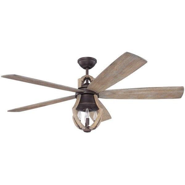 """Craftmade WIN56ABZ5 Winton 56"""" 5 Blade Ceiling Fan - Blades, Remote and Light Kit Included - weathered pine"""