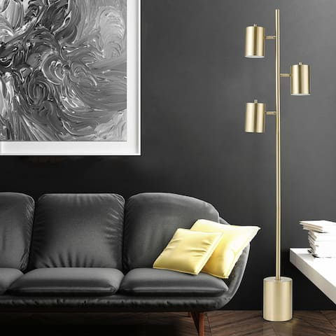 Silver Orchid Sangro 63-inch 3-Light Gold Floor Lamp