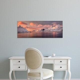 Easy Art Prints Panoramic Images's 'Clouds over snowcapped mountain peaks, Lofoten, Nordland Norway' Premium Canvas Art
