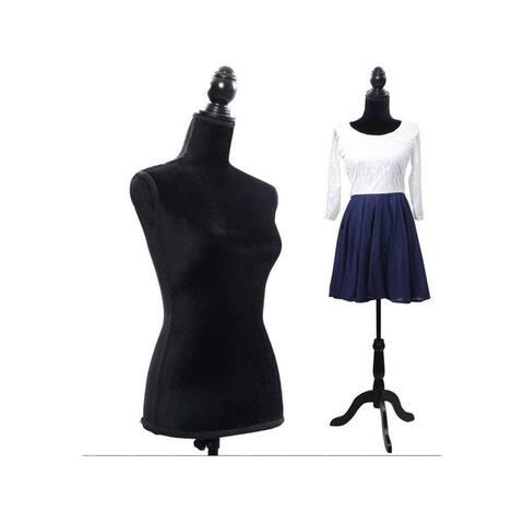 Female Mannequin Torso Clothing Display, W/ Tripod Stand Black - Medium