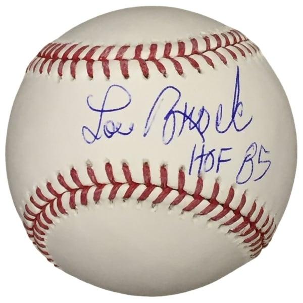 Lou Brock Cardinals Signed Official Baseball HOF 85 Inscribed JSA ITP