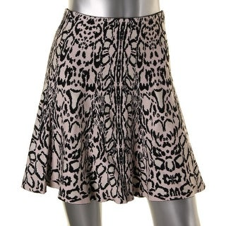 Lucy Paris Womens KNit Animal Print Flare Skirt - S