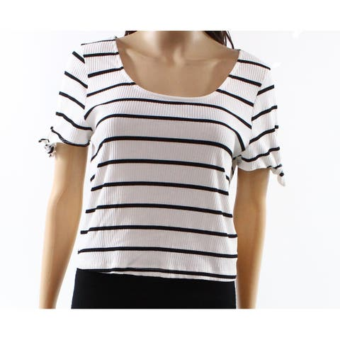 Lush Black Women's Large Striped Tied-Sleeve Crop Top
