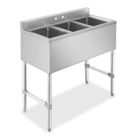 3 Compartment NSF Stainless Steel Commercial Bar Sink by GRIDMANN - Silver