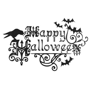 Home Party PVC Halloween Letter Pattern Removable Window Film Wall Sticker Black White 60 x 35cm